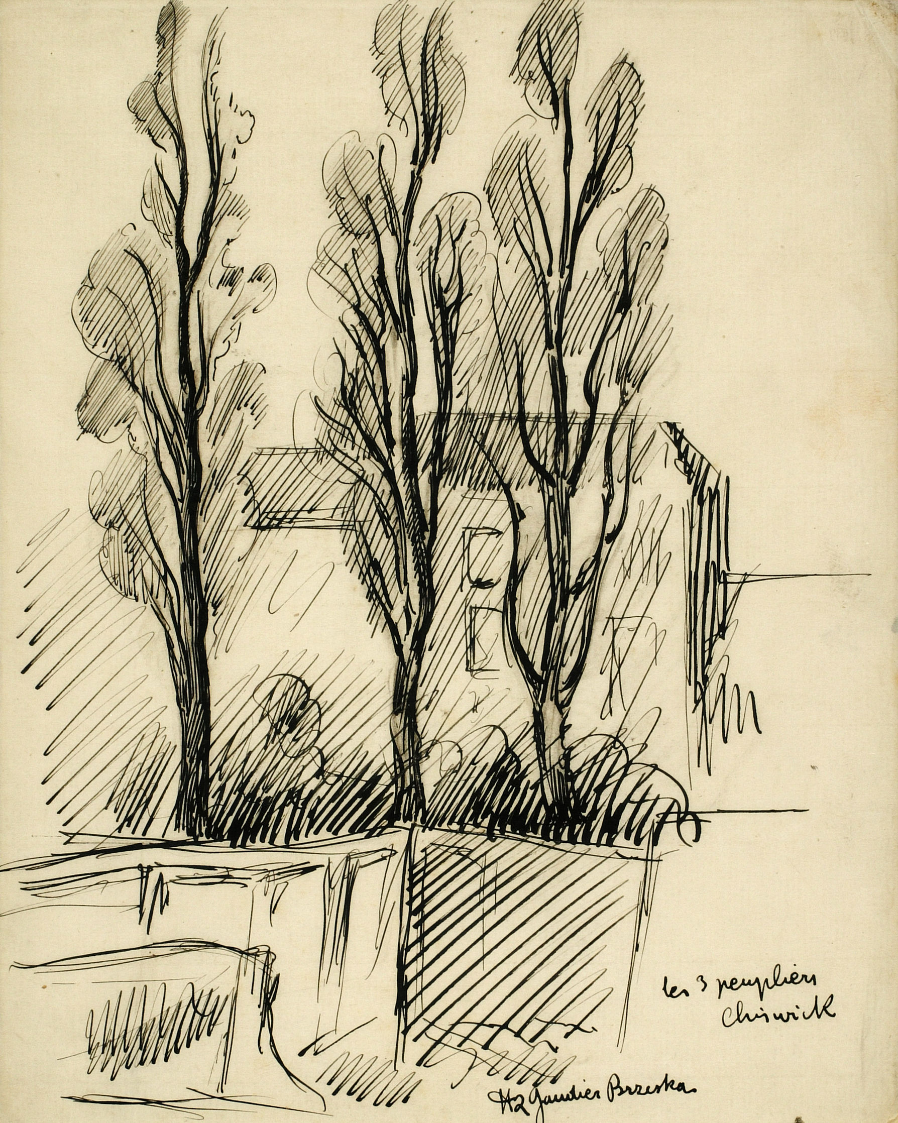 Drawing of 'Les trois peupliers, Chiswick'